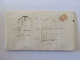 Lettre Maire De Blois Vers Celui De Saumur - Cachet PP Port Payé Rouge + Cachet Noir Mairie De Blois - 1842 - 1849-1876: Classic Period