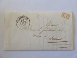 Lettre Compiègne Vers Saumur (Mairie) - Cachet Type 13 + PP Port Payé Rouge + Mairie Compiègne Rouge - 1842 - Marcophilie (Lettres)