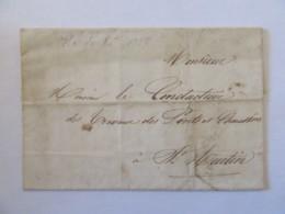 Lettre Sans Affranchissement - Ile De Ré Vers St Martin (Ponts & Chaussées) - Superbe Cachet Inscription Maritime - 1837 - Postmark Collection (Covers)