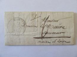 Lettre Vers Mairie Saumur Refusée Pour Défaut D'affranchissement - Cachet Type 13 + Chiffre-taxe Manuscrit - 1842 - 1801-1848: Precursors XIX