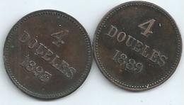 MONNAIES 2 Pieces De GUERNESEY 4 Doubles 1889 Et 1893 Diametre 26 Mm N050 - Guernsey