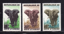IVORY COAST COSTA D'AVORIO COTE D'IVOIRE 1962 FAUNA ANIMALS ELEPHANT ANIMAUX COMPLETE SET SERIE COMPLETA MNH - Costa D'Avorio (1960-...)