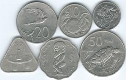 Cook Islands - Elizabeth II - 3rd Portrait - 5 (1992) 10 (1987) 20 (1992) & 50 Tene (1987); 1 (1987) & 2 Dollars (1988) - Cook