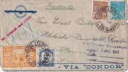 BRESIL 1941 PLI AERIEN RECOMMANDE CENSURE DE PORTO ALEGRE VIA CONDOR AVEC CACHET ARRIVEE - Brésil