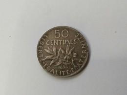 50 Centimes Semeuse 1898 Argent Tranche Canelée - France