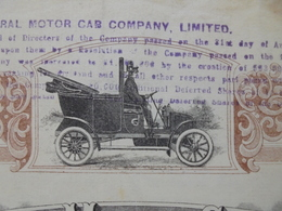 THE GENERAL MOTOR CAB CIE - TITRE DE 1 ACTION DE 1 SHILLING - 1906 - BELLE VIGNETTE - TITRE AYANT CIRCULE - Non Classés