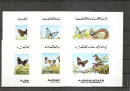 Papillons - Oiseaux ( 2029/2034 De Ajman En Petits Feuillets XXX -MNH- ) - Schmetterlinge