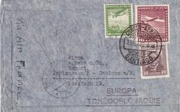 CHILI 1936 LETTRE DE SANTIAGO POUR JABLONEC VIA AIR FRANCE - Chile
