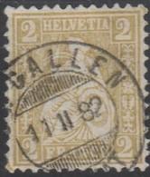 Schweiz, 11.2.1882, St. Gallen, 44, Sitzende Helvetia, Vollstempel, Siehe Scan! - 1862-1881 Sitted Helvetia (perforates)