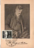 Chess Schach Echecs Ajedrez - East Germany. Berlin 1968 Centenary Of The Bird Of Emanuel Lasker - Souvenir Card CKM 213a - Echecs
