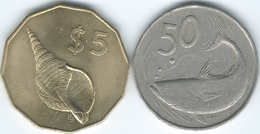 Cook Islands - 1987 - Elizabeth II - 3rd Portrait - 50 Tene (KM36) & 5 Dollars (KM39) - Cook