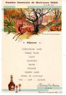 Menu - Première Communion De Marie-laure Dubuc Le 24 Mai 1936 - Bénédictine DOM - Forêt De Fontainebleau - Liqueur Des C - Menus
