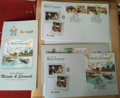 Malaysia 2019 FDC Combo Stamps Set + MS Tourist Destinations Melaka Malacca & Sarawak   Unissue FDC Setenant - Malaysia (1964-...)