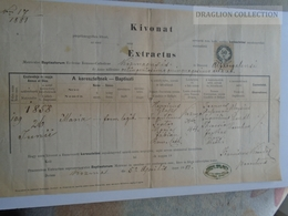 ZA185.11  Old Document Slovakia  KOZMA  KUZMICE -Trebisov 1889 - Matzner-Glasz - Naissance & Baptême