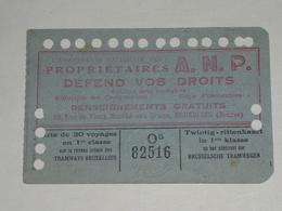 Ancien Ticket Tramway, Bruxelles Belgique.Ticket Autobus,Train, Metro. Carte 20 Voyages 1942. - Tramways