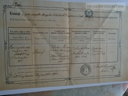 ZA185.12  Old Document Hungary - KAJDACS -Tolna- Paks - József HUBER 1882  Szántó Zsigmond Plébános - Naissance & Baptême