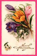 Heureux Anniversaire - Bouquet - Fleur - Fleurs - Edit. CELLARO - 1937 - Anniversaire