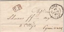 Lettre LYON Rhône Cachet Essai Hexagonal 21/7/1848 PP Port Payé à Osséja Pyrénées Orientales Passe Bourg Madame - Marcophilie (Lettres)