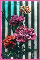 Heureux Anniversaire - Bouquet De Fleurs - CP - Blumen