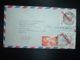 LETTRE Par Avion Pour FRANCE TP EXPOSITION INTERNATIONALE DE SEATTLE 1,00 X2 + CONTRE LA FAIM 10c OBL.12 AOU 1963 PORT A - Haïti