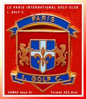 SUPER PIN'S GOLF : LE PARIS INTERNATIONAL GOLF CLUB (I.  GOLF  C.) Situé à BAILLET, ZAMAC Base Or  2X1,6cm - Golf