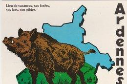 ARDENNES: Lieu De Vacances, Ses Forêts, Ses Lacs, Son Gibier. Sanglier Sur Le Dessin Du Département - Illustrateurs & Photographes