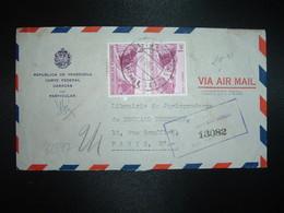LR Par Avion Pour FRANCE TP AUTOPISTA CARACAS BS 1 Paire OBL.11 JUL 57 + CORTE FEDERAL CARACAS - Venezuela