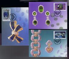 Green Sapphire, Diamond Finger Ring Gold, Blue Sapphire, Precious Stones Gemas THAILAND Maximum Cards 1955 Mc744 - Writers