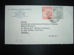 LETTRE Par AVION Pour FRANCE TP CORREOS CARACAS 50c + 25c OBL.? AGO 1963 + DR HERNAN GIMENEZ ANZOLA ABOGADO CARACAS - Venezuela