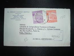 LR Pour FRANCE TP CORREOS CARACAS 1,00 + 50c OBL.23-11 62 + DR HERNAN GIMENEZ ANZOLA ABOGADO CARACAS - Venezuela