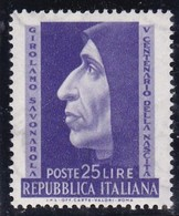 Repubblica Italiana, 1952 - 25 Lire Savonarola, Fil. R3 - Pos. ND -  Nr.201 MNH** - Abarten Und Kuriositäten
