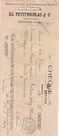 Traite Chèque 1922 / Ed PETITNICOLAS / Manufacture Chemises / 88 Senones Vosges - France