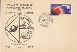 77835- CONSTANTA NATURAL SCIENCES MUSEUM, DOLPHIN, PELICAN, PLANET, SPECIAL POSTCARD, 1978, ROMANIA - 1948-.... Républiques