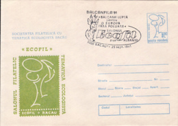 77843- BACAU ECOLOGY PHILATELIC EXHIBITION, ENVIRONEMNET PROTECTION, COVER STATIONERY, 1991, ROMANIA - Protection De L'environnement & Climat