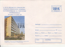 77904- BUCHAREST ENGINEERING INSTITUTE, INDUSTRY, CAR, COVER STATIONERY, 1989, ROMANIA - Usines & Industries