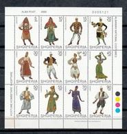 ALBANIA 2000 - TRAJES REGIONALES - YVERT Nº 2488/2499 - MINI HOJA DE 12 SELLOS - Textile
