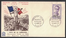 YN346     FRANCE FDC 1960 *   MAURICE RIPOCHE HÉROS DE LA RÉSISTANCE - FDC