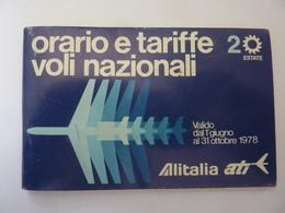 """Libretto """"ORARIO E TARIFFE VOLI NAZIONALI ALITALIA / ATI Estate 1978"""" - Europa"""