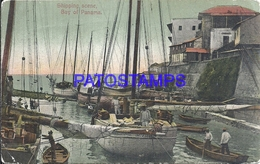 109124 PANAMA BAY SHIPPING SCENE VIEW SHIP BREAK POSTAL POSTCARD - Panama