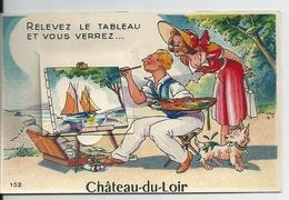 Château Du Loir ( Sarthe)  Carte à Système / 10 Petites Vues Sous Le Tableau - A Systèmes