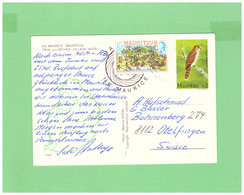 1984 MAURITIUS AIR MAIL POSTCARD WITH 2 STAMPS TO SWISS - Maurice (1968-...)