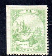 XP4472 - LIBERIA 1867 , 24 Cents Yvert N. 9 Nuovo Senza Gomma Dent 11 (2380A) .Firma Em.Diena Al Retro - Liberia