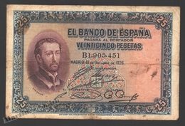 Banknote Spain - 25 Pesetas – October 1926 – Saint Francisco Xavier - Condition G - Pick 71a - [ 1] …-1931 : Premiers Billets (Banco De España)