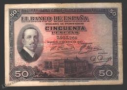 Banknote Spain - 50 Pesetas – May 1927 – King Alfonso XIII - Condition G - Pick 70a - [ 1] …-1931 : Eerste Biljeten (Banco De España)