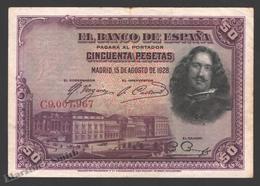 Banknote Spain -  50 Pesetas – August 1928 – Paintor Velázquez - Condition FF - Pick 75b - [ 1] …-1931 : Eerste Biljeten (Banco De España)