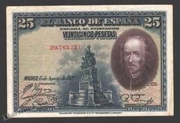 Banknote Spain -  25 Pesetas – August 1928 – Calderon De La Barca - Condition FF - Pick 74b - 1-2-5-25 Pesetas