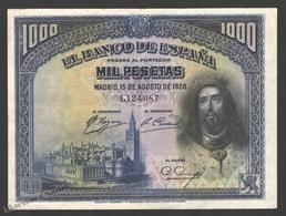 Banknote Spain -  1000 Pesetas – August 1928 – Saint Fernando, Seville Cathedral - Condition VF - Pick 78a - [ 1] …-1931 : Premiers Billets (Banco De España)