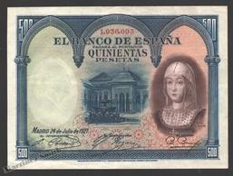 Banknote Spain - 500 Pesetas – May 1927 – Lions Court, Alhambra Isabel La Católica - Condition VF - Pick 73 - [ 1] …-1931 : Premiers Billets (Banco De España)