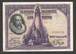 Banknote Spain -  100 Pesetas – August 1928 – Miguel De Cervantes, Writer - Condition VF - Pick 76a - [ 1] …-1931 : Primeros Billetes (Banco De España)
