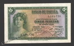 Banknote Spain -  5 Pesetas – Year 1935 – Women At Left - Condition VF - Pick 85a - 5 Pesetas